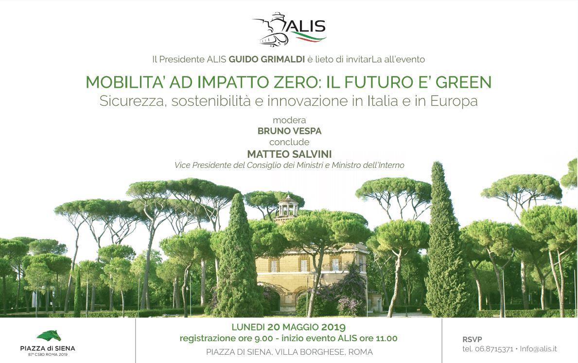 """ALIS a Piazza di Siena, 20 maggio: evento nazionale """"MOBILITA' A IMPATTO ZERO: IL FUTURO E' GREEN"""""""